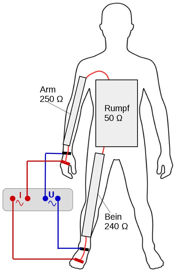 Schematische Darstellung der Widerstände aus Arm, Rumpf und Bein einer Testperson.