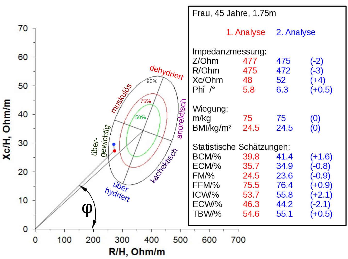 Bioimpedanzvektoranalyse-Diagramm mit Ergebnissen von 2 Körperanalysen