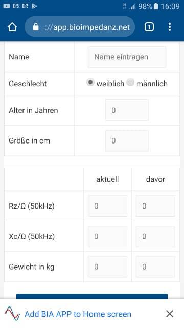 Webeite mit Installationshinweis für die BIA App im Chrome Browser