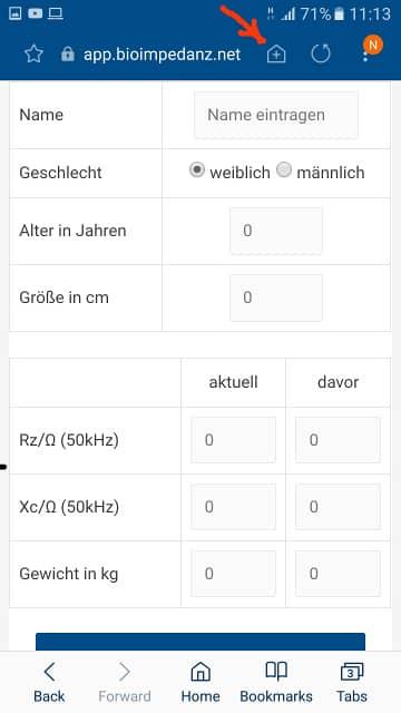 Webeite mit rotem Pfeil zum Installationssymbol der BIA App im Samsung Webbrowser