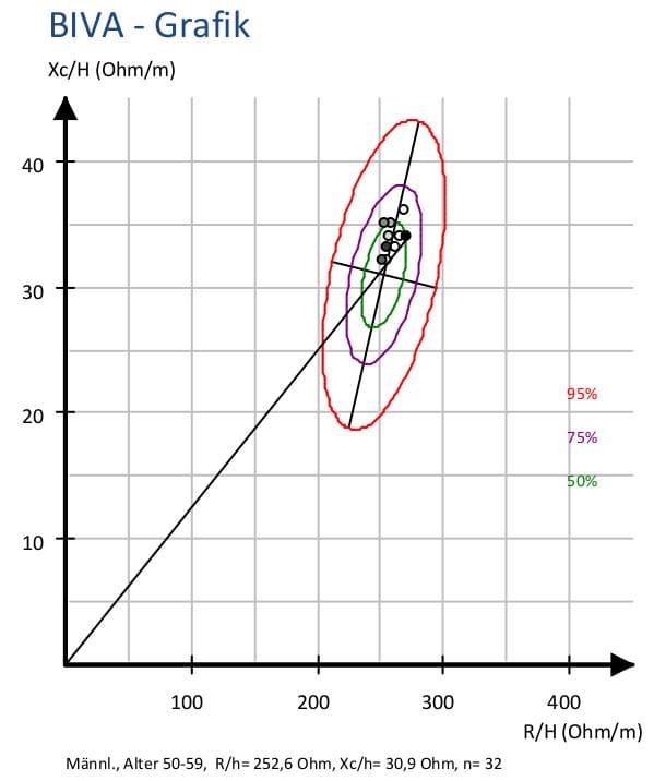 Bioimpedanz-Vektordiagramm mit Datenpunkten in der PDF-Ergebnisdarstellung