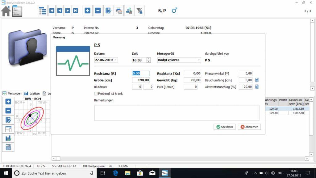 Fenster zur Messwertaufnahme in der BodyExplorer Software