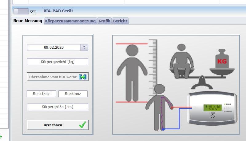 Ausschnitt der easyBIA-Software zur Dateneingabe und automatische Datenübertragung